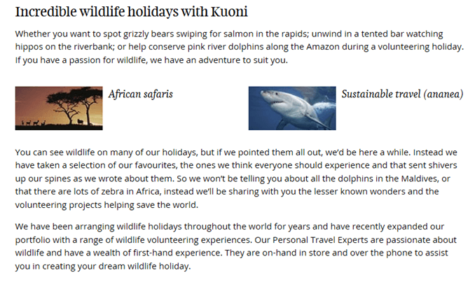 Kuoni text about wildlife